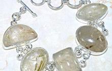 Bracelet argent quartz rutiles dorés vue globale