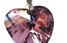 Collier cristal coeur rose avec chaine