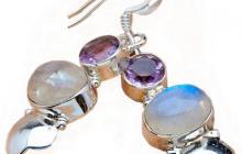 boucles argent et pierres de lune avec améthystes 2