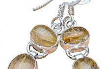 Boucles argent et quartz rutiles