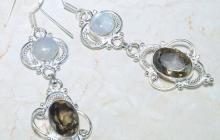 Boucles argent pierre lune/ quartz fumé