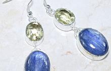 Boucles d'oreille argent kyanites bleues/citrines