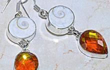 Boucles argent oeil de shiva et topaz mystique orange-jaune