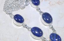 Collier argent lapis lazulis