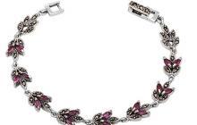 Bracelet argent et marcassites avec rubis véritables vue globale