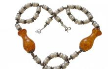 Collier perles culture et ambres